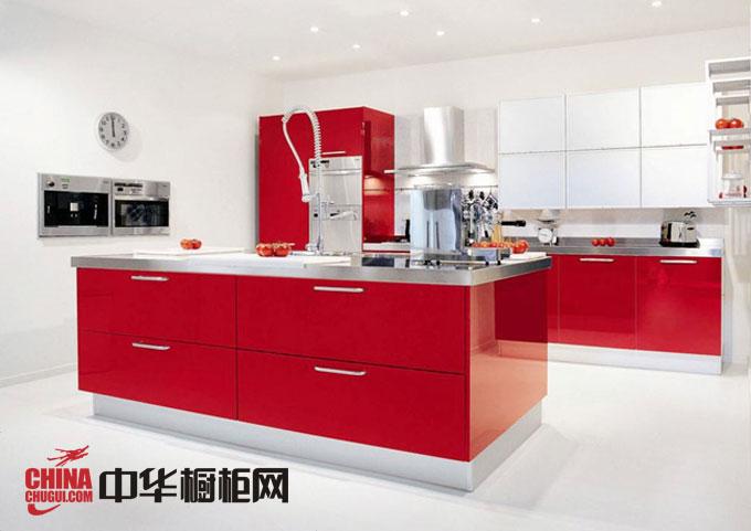 简约风格整体橱柜效果图 红色烤漆橱柜图片 厨房整体橱柜效果图