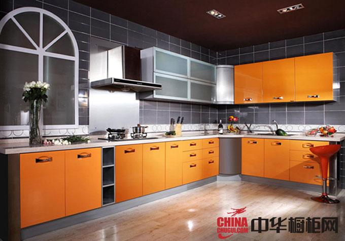 橙色烤漆橱柜图片 不锈钢整体橱柜图片 开放式橱柜设计效果图欣赏