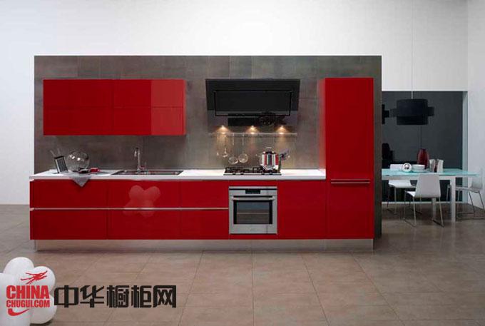 现代简约风格整体橱柜效果图 红色烤漆橱柜图片 厨房装修效果图大全2012图片