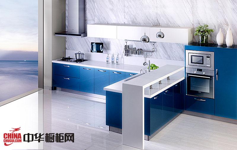 时尚简约风格整体橱柜效果图 蓝色烤漆橱柜图片 厨房装修效果图大全2012图片