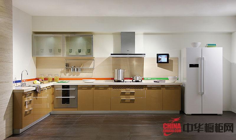 不锈钢烤漆橱柜图片 香槟色橱柜设计效果图 厨房装修效果图大全2012图片
