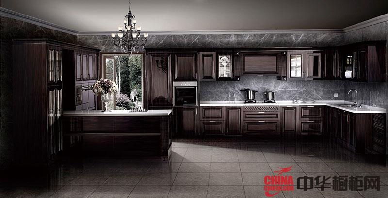 棕黑色实木橱柜图片 中式整体橱柜设计图片 2012年厨房橱柜图片欣赏