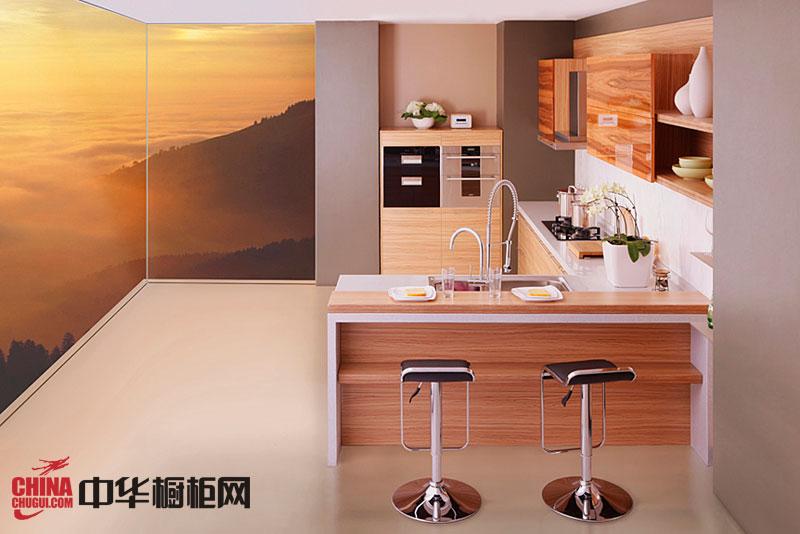 田园风格整体橱柜设计效果图 厨房整体橱柜效果图 小厨房装修效果图欣赏