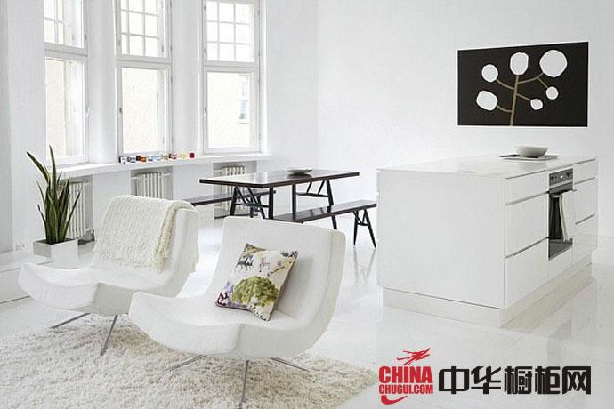 白色不锈钢烤漆橱柜图 时尚橱柜设计效果图片