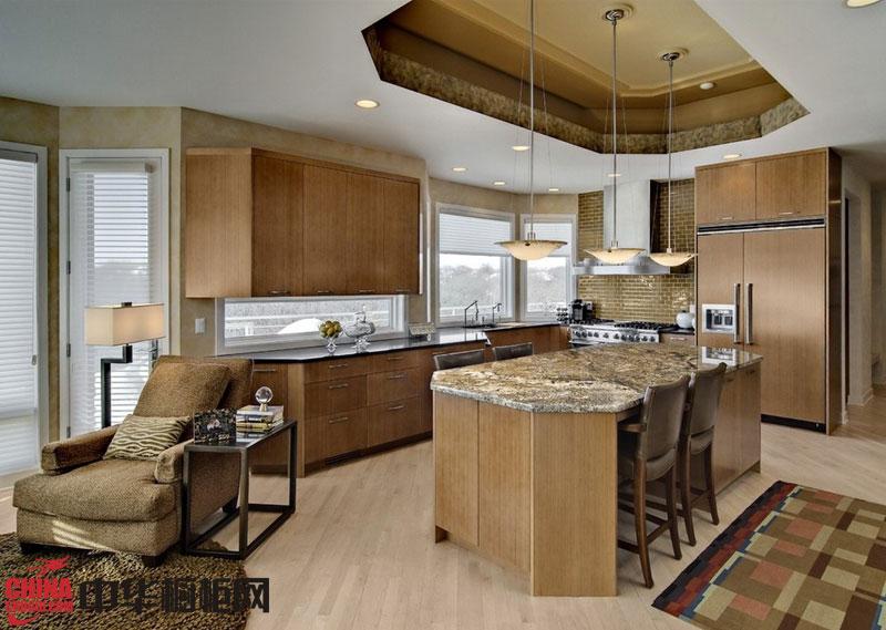 欧式田园风格橱柜效果图 实木橱柜图片 厨房整体橱柜效果图