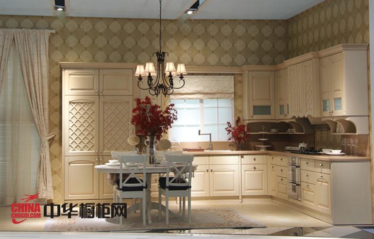 西泊橱柜仿古吸塑整体橱柜图片 米白色欧式实木橱柜图片 厨房整体橱柜效果图欣赏