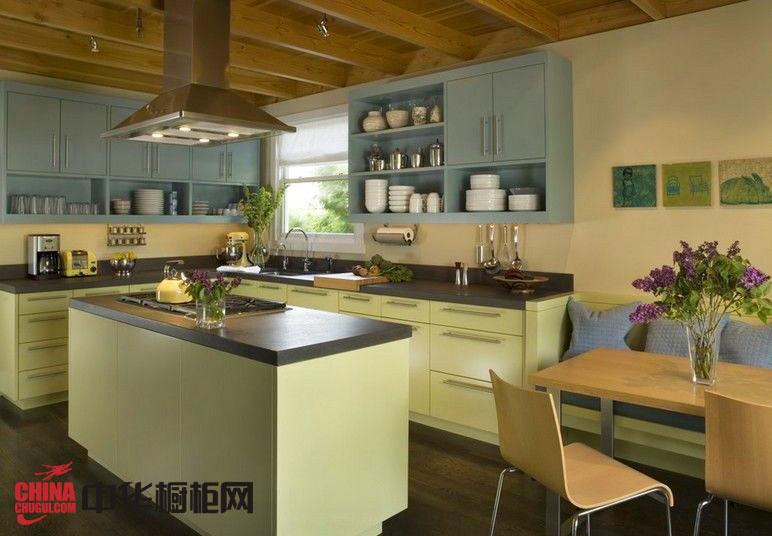 绿色系整体橱柜设计效果图 田园风格橱柜效果图 厨房装修效果图大全2012图片