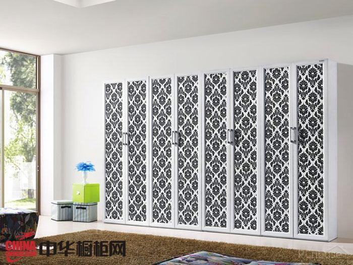 黑白烤漆大衣柜效果图 简约风格整体衣柜图片