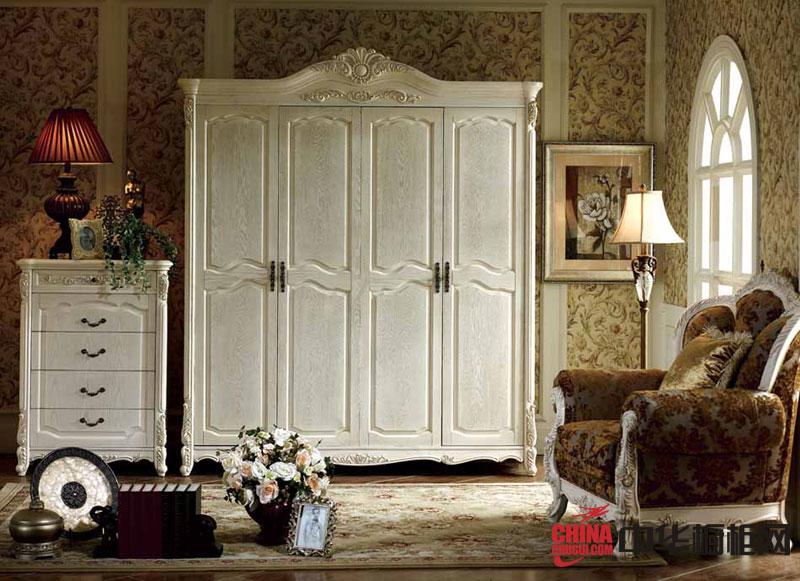 欧式风格整体衣柜图片 白色实木衣柜设计效果图 卧室衣柜装修效果图