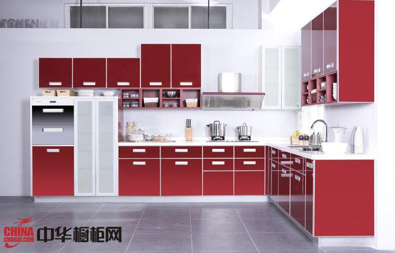 红色烤漆橱柜图片 现代风格我乐橱柜效果图 小厨房装修效果图欣赏