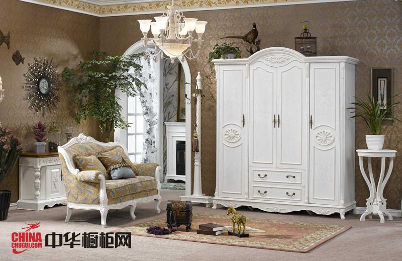 欧式田园风格整体衣柜设计图 白色实木衣柜效果图欣赏