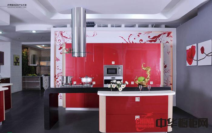简约风格整体橱柜效果图 红色烤漆橱柜图片 小厨房装修效果图欣赏