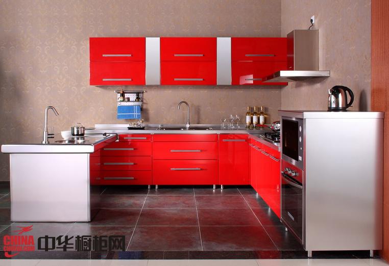 现代风格橱柜设计效果图 红色烤漆不锈钢整体橱柜效果图