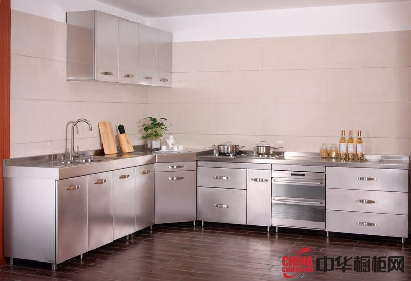 银色不锈钢整体橱柜装修设计效果图 2012年厨房整体橱柜效果图欣赏