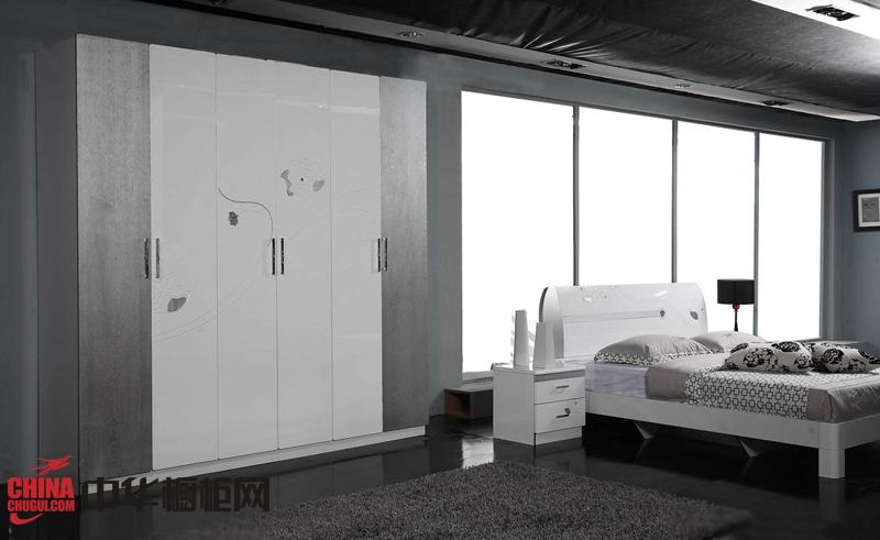 灰白色系列烤漆大衣柜效果图