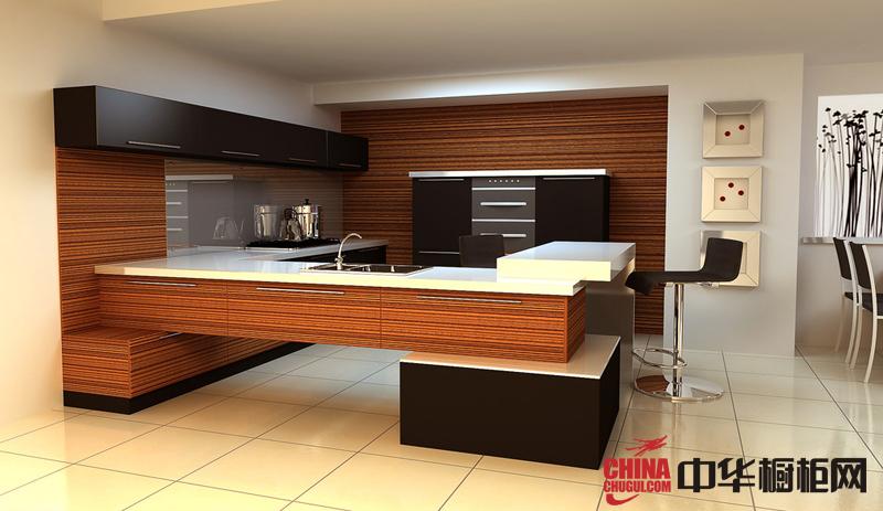 木纹装饰整体橱柜效果图 U型厨房装修效果图大全2012图片