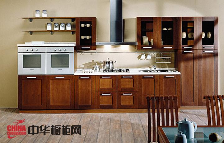 古典风格实木橱柜图片 一字型厨房装修效果图