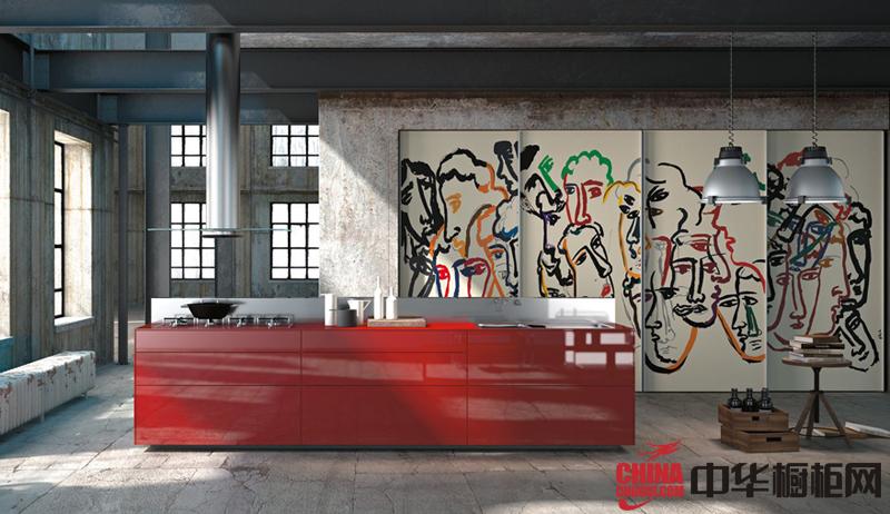 简约风格红色烤漆橱柜图片 时尚橱柜装修效果图欣赏