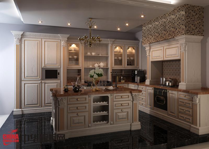 欧式风格实木橱柜效果图 白色厨房装修效果图欣赏