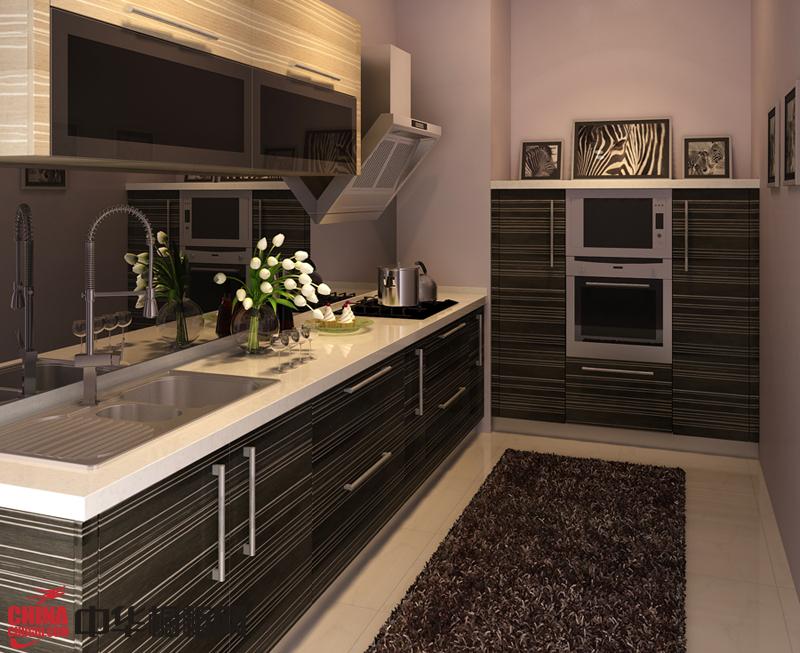 简约风格整体橱柜装修效果图 灰色系烤漆橱柜图片 小厨房装修效果图欣赏