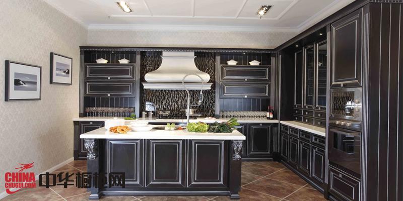 黑色实木橱柜效果图片 欧式厨房装修效果图