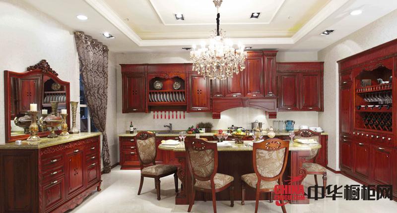 古典风格整体橱柜设计图片 红棕色实木橱柜效果图欣赏