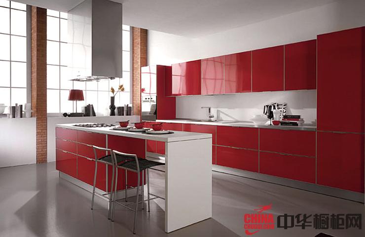 红色烤漆橱柜效果图 开放式厨房装修效果图大全