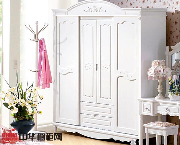 欧式田园风格整体衣柜设计图片 白色实木衣柜效果图欣赏
