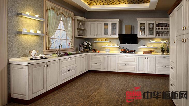 欧式风格实木整体橱柜图片 开放式整体厨房装修效果图