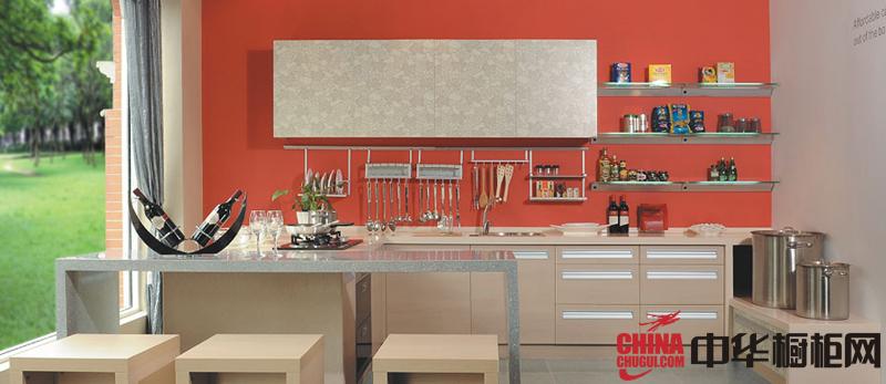 暖色调整体厨房装修效果图 简约风格整体橱柜设计图片