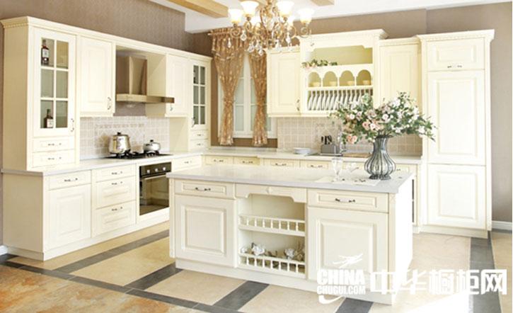 欧式田园风格整体橱柜效果图 乳白色实木橱柜图片