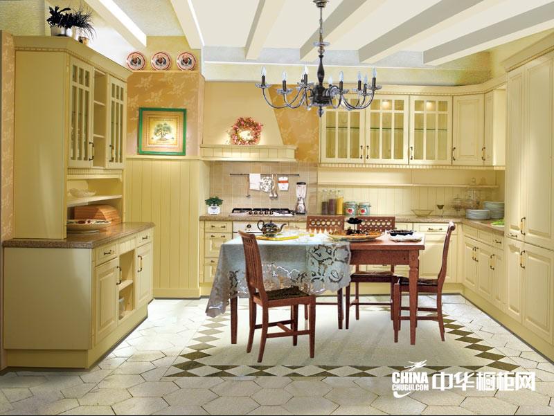 诗意典雅欧式厨房装修效果图 暖色莫奈橱柜装修设计效果图片