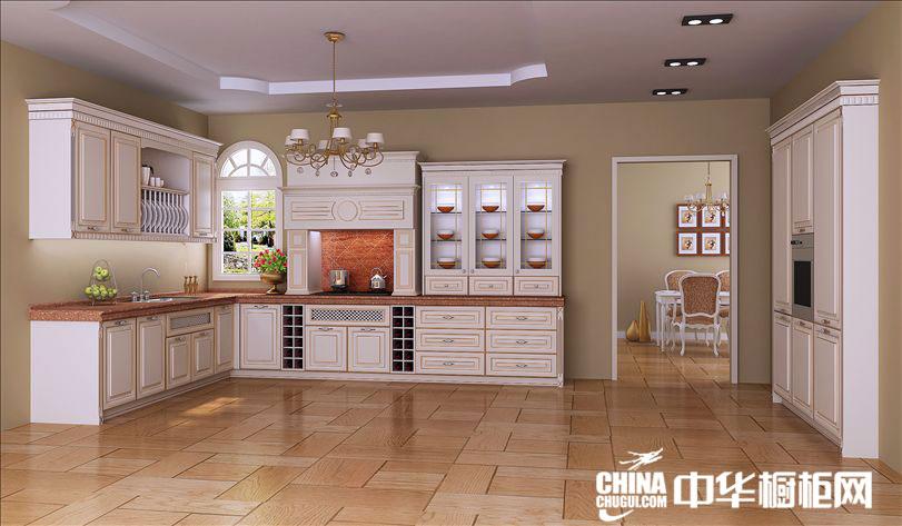 精致古典整体橱柜设计图片 优雅白色实木橱柜效果图片