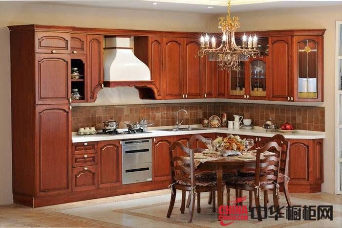 古典风格开放式厨房效果图片欣赏 实木整体橱柜效果图