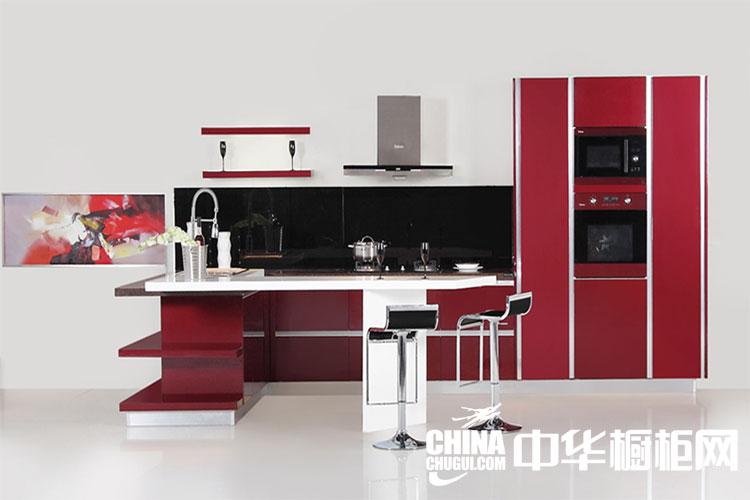 现代简约整体橱柜设计图片 红色烤漆整体橱柜图片欣赏
