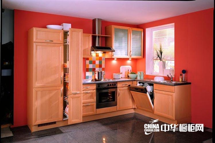 火红温馨厨房装修设计图片 实用简约整体橱柜设计效果