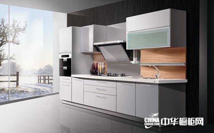 简约现代整体厨房装修设计效果 垂直极限整体橱柜设计图片