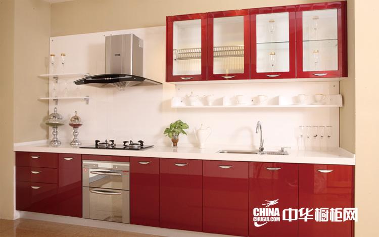 中国红开放式厨房装修效果图 彩云堆雪整体橱柜装修效果
