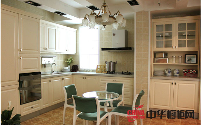欧式田园风格橱柜效果图片欣赏 开放式厨房装修效果图图片