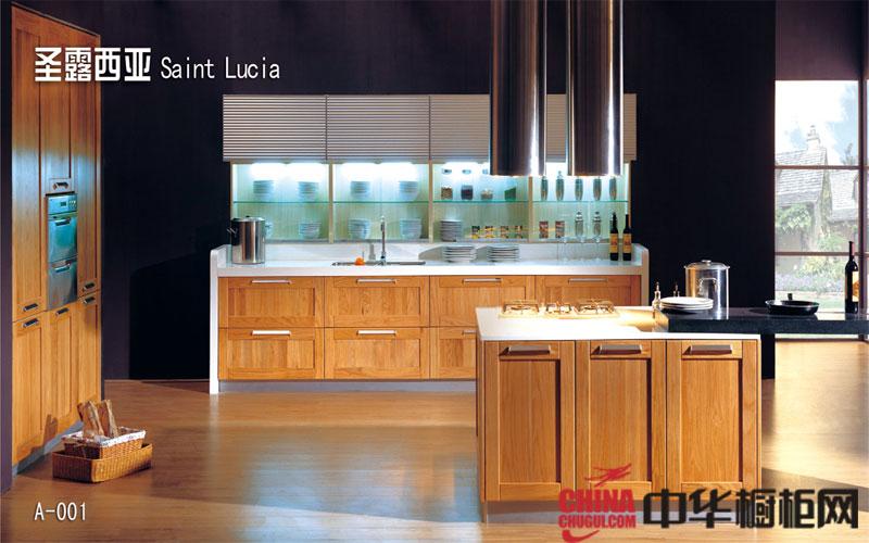 天然木纹实木橱柜设计效果图 厨房装修效果图大全2013图片