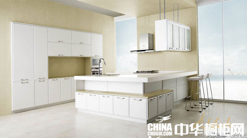 简约开放式厨房装修效果图 白色烤漆整体橱柜效果图片