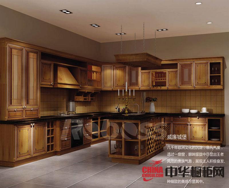 欧式古典风格整体橱柜效果图 实木整体橱柜设计效果图欣赏