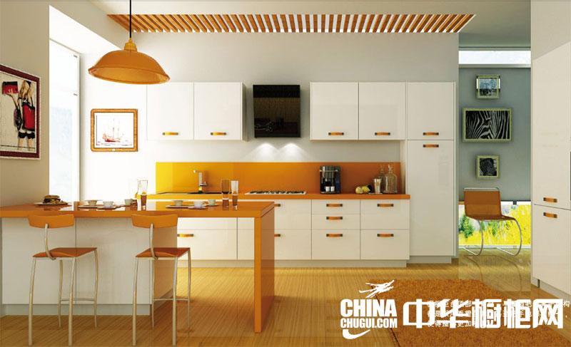 现代厨房橱柜装修效果图片 橙色烤漆整体橱柜设计图片