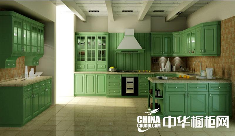 欧式田园风格整体橱柜效果图 清新绿色实木橱柜图片