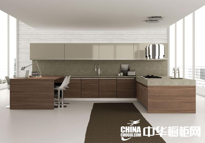 时尚简约风格开放式厨房装修效果图 天然木纹橱柜设计效果图