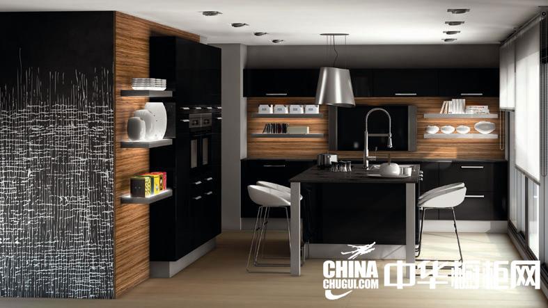 现代简约型厨房装修效果图 黑色诱惑般整体橱柜效果图