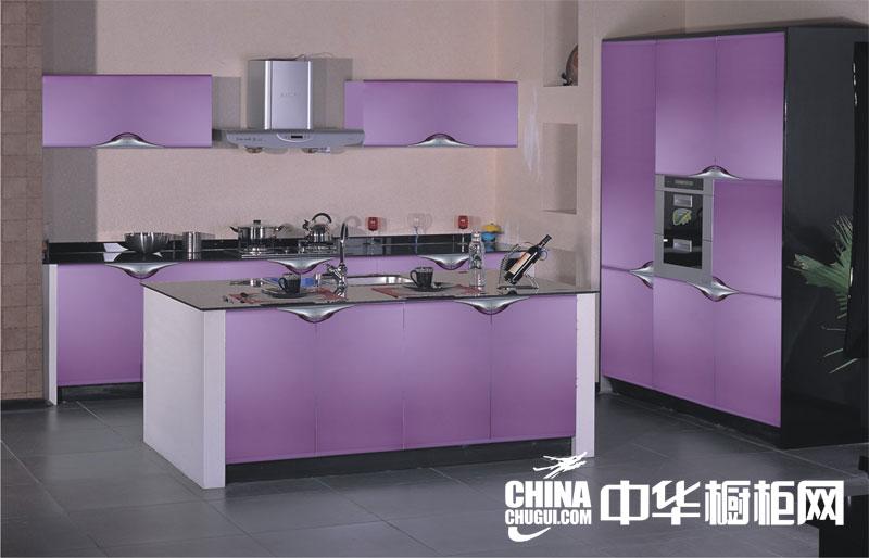 紫色魅惑整体橱柜效果图 时尚简约厨房装修效果图