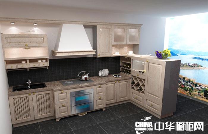 时尚新贵厨房装修效果图 白色实木整体橱柜效果图