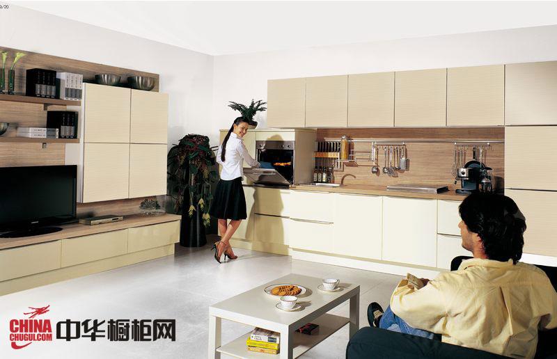 开放式厨房装修效果图大全2012图片 香槟色烤漆橱柜效果图欣赏
