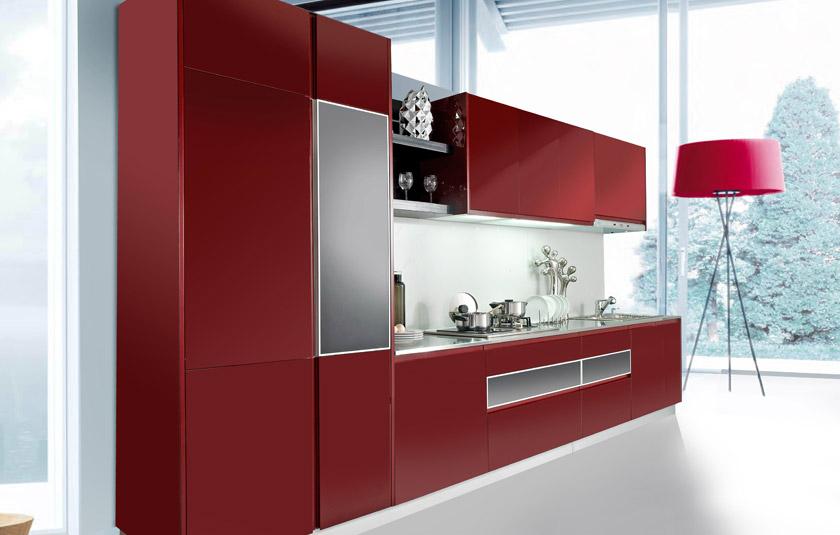红色烤漆橱柜图片 一字型小厨房装修效果图